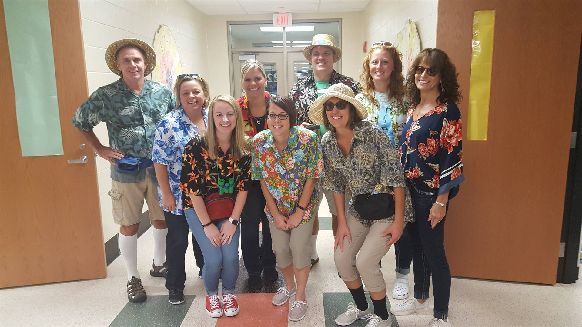 Staff get in the spirit of Tourist Day during Homecoming Week