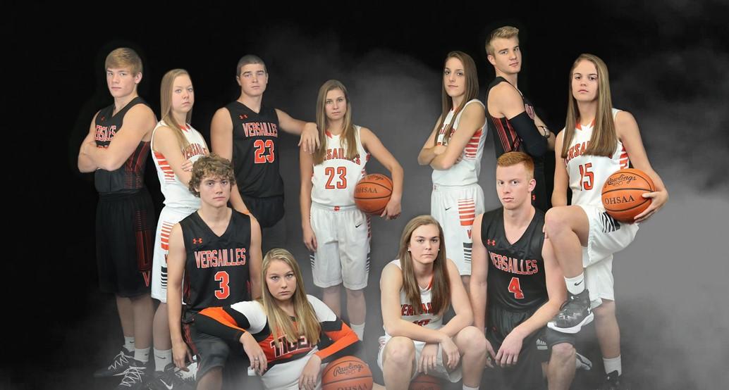 Senior Basketball Players and Cheerleader