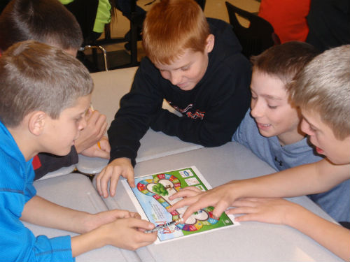 Math game in Mrs. Hoelscher's classroom