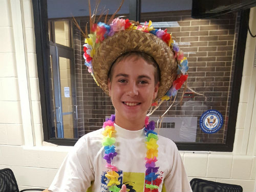 STUDENT DRESSES UP FOR HAWAIIAN DAY