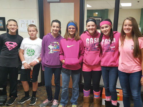 OUR MIDDLE SCHOOL STUDENTS IN PINK