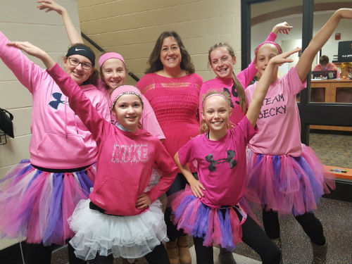 MRS OSTERFELD SURROUNDED MY THESE LADIES IN PINK