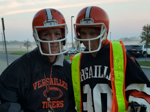 OUR CROSSING GUARDS ARE DRESSED UP FOR SPIRIT DAY TODAY