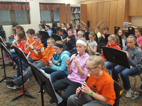 MISS TIPTON'S STUDENTS PRACTICING THE RECORDER