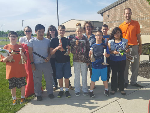 MR LEUBKE'S CLASS SHOWING US THEIR ROCKET DESIGNS