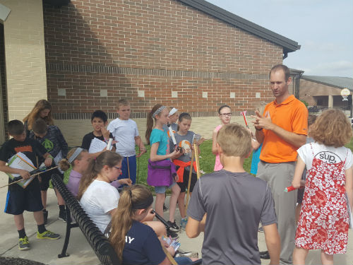 MR LUEBKE DOING A FLIGHT EXPERIMENT WITH HIS SCIENCE CLASS