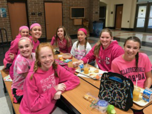 OUR GIRLS LOOK GOOD IN PINK ENJOYING THEIR LUNCH