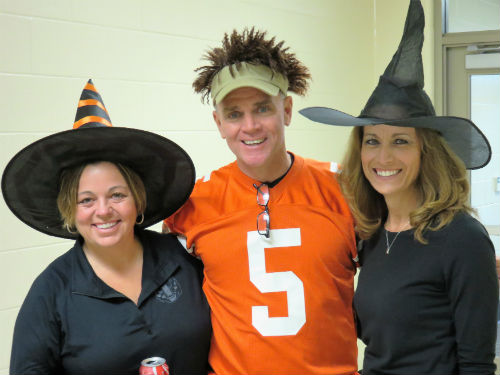 The staff likes to participate in spirit days. Here Mrs. Keiser, Mr. Blakeley, and Mrs. Francis