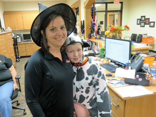 A cow and a witch for spirit day dress up