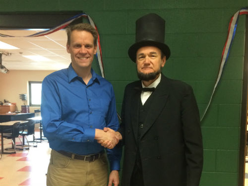 Abe Lincoln visits the 8th grade social studies classroom