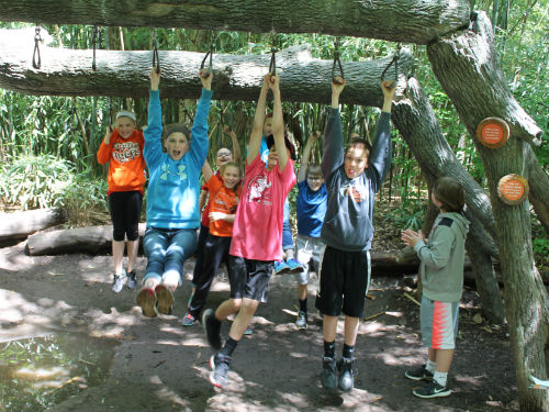 Students showing their athletic abilities at the zoo