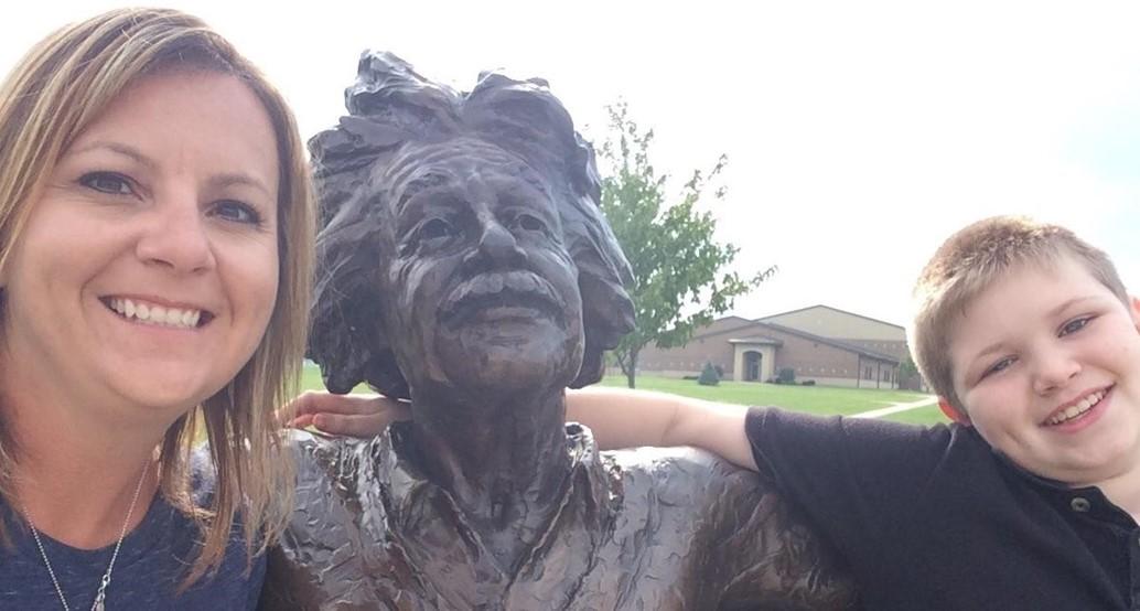 Student visiting Albert Einstein