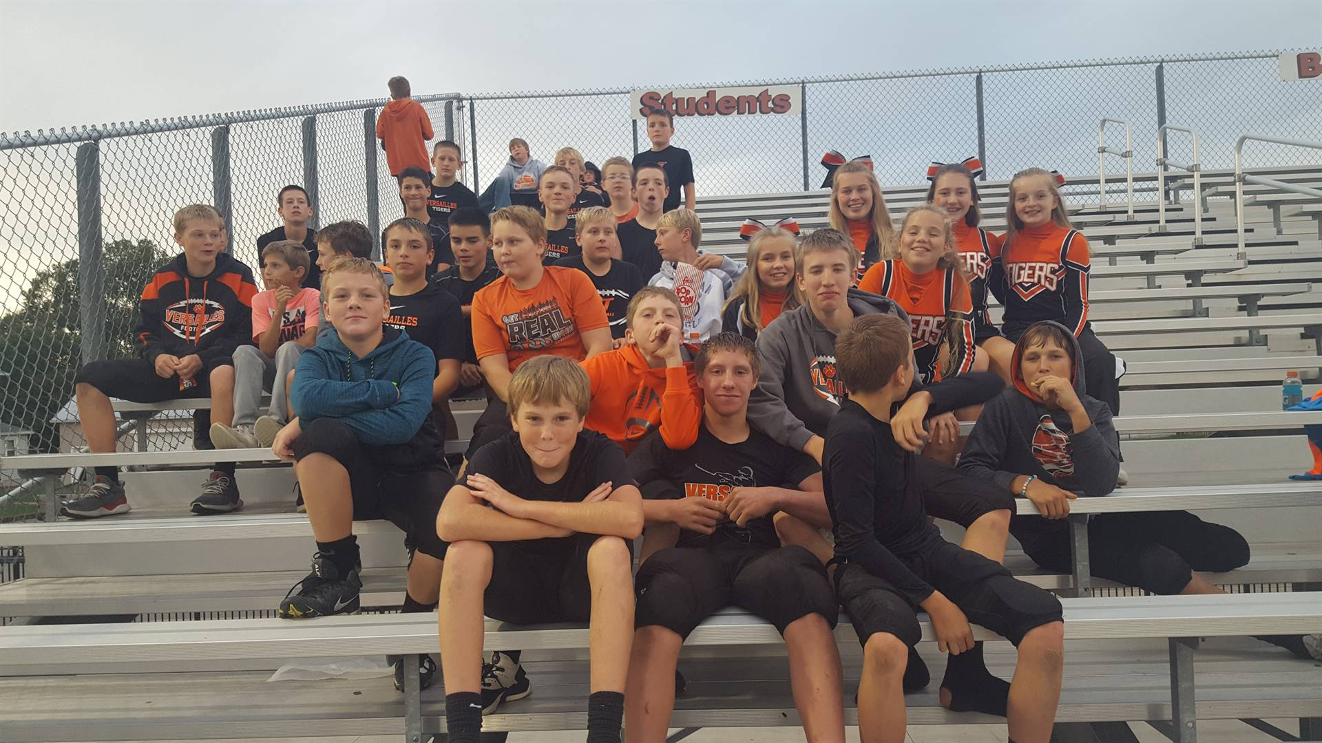7th grade football with cheerleaders