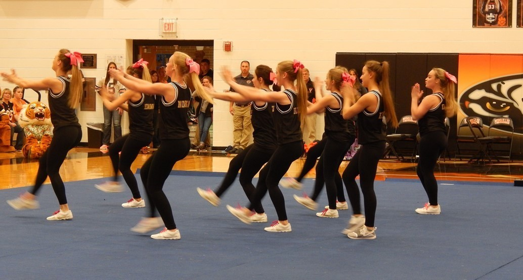 Cheerleaders at pep assembly
