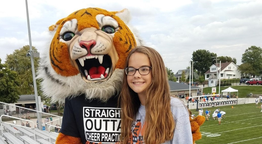 Student with the Tiger Mascot