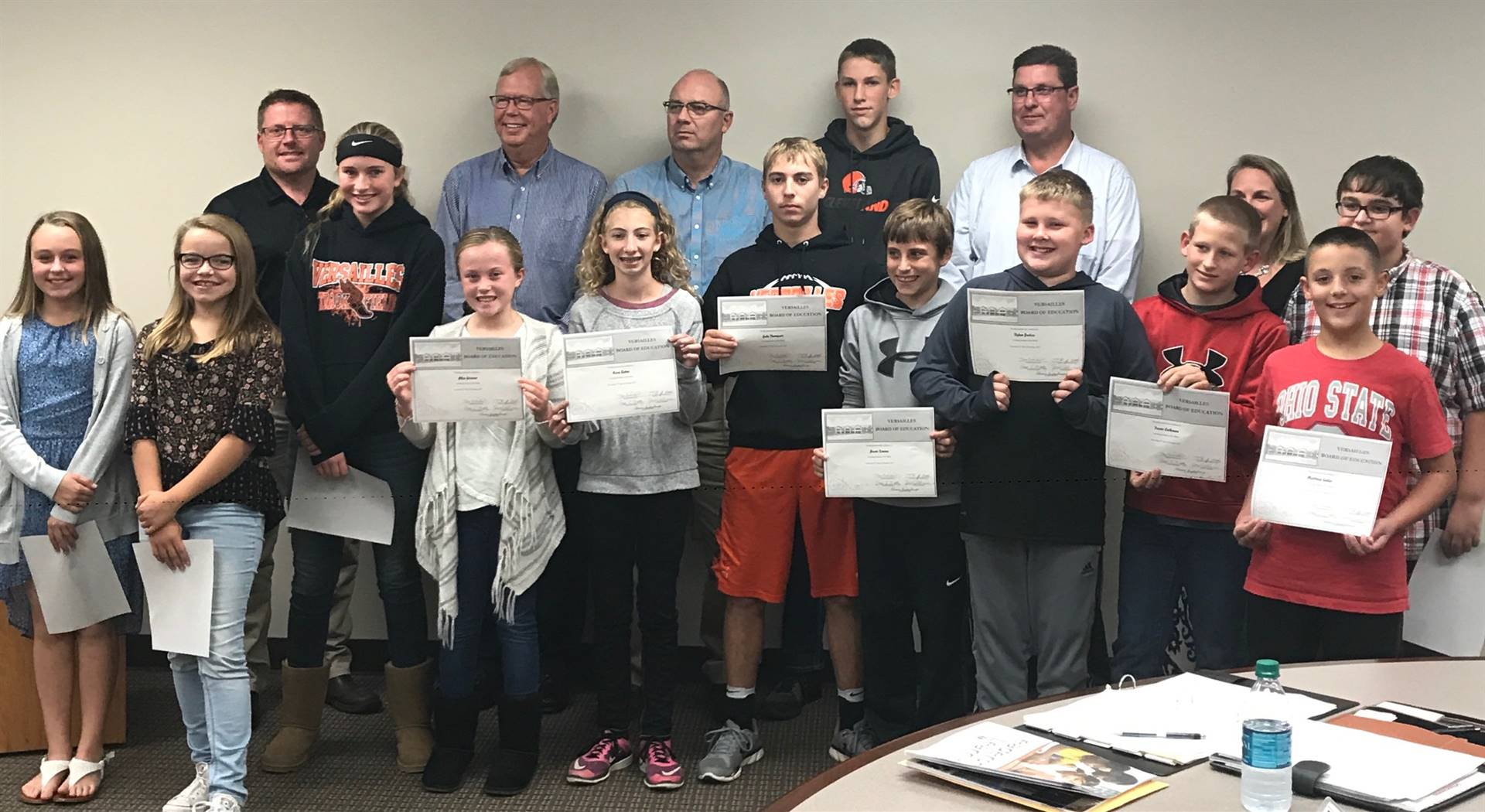 Students recognized at the board meeting