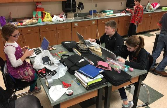 Students working on science project