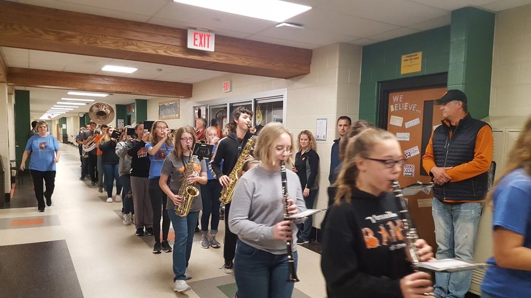 Jr. High band marches for clap through