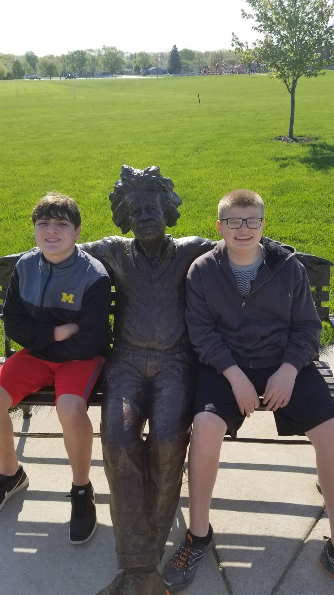 Students visiting Mr. Einstein